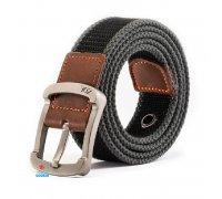 Diržas medžiaginis su metaline sagtimi ZDL Black-Grey; 110x3.5cm