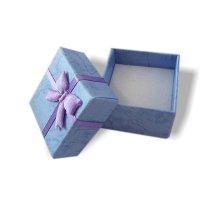 Dovanų kartoninė dėžutė melyna; 4x4x2.5cm