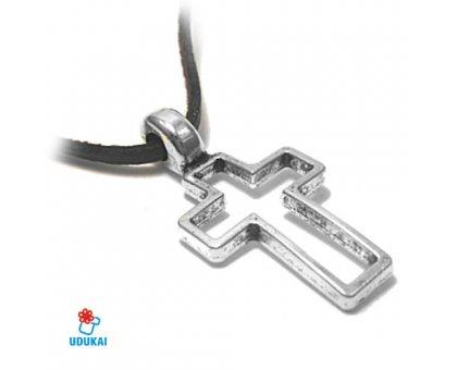 Kaklo pakabukas Kryžius sidabro spalvos; 38x20mm