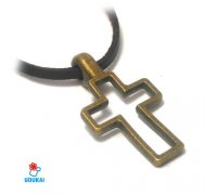 Kaklo pakabukas Kryžius bronzos spalvos; 38x20mm