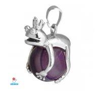 Kaklo pakabukas natūralaus akmens Varliukas Violetinis Agatas; 17x25mm