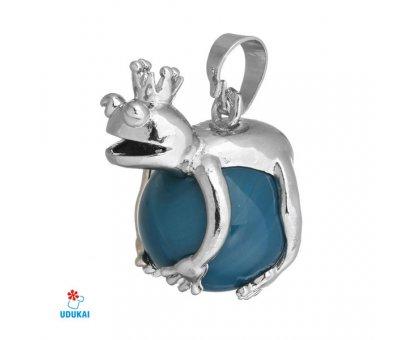 Kaklo pakabukas natūralaus akmens Varliukas Mėlynas Agatas; 17x25mm