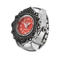 Laikrodis žiedas Raudona Gėlė; kvarcinis