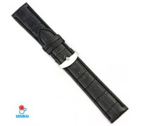 Laikrodžio dirželis Croco juodas; 22mm