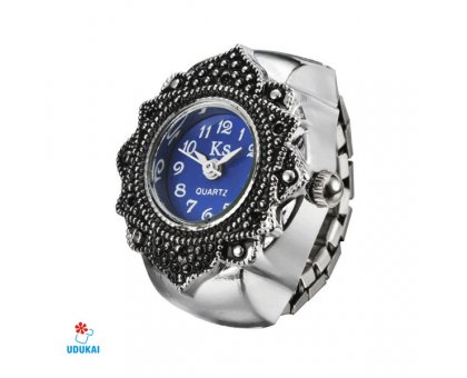 Laikrodis žiedas Melyna Gėlė; kvarcinis