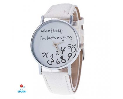 Laikrodis Late White; kvarcinis