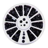 Kristalai nagų puošybai Deep Black; 1-4mm
