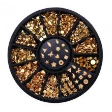 Kristalai nagų puošybai Gold Black; 1-4mm