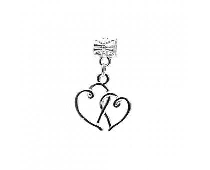 Karoliukas metalinis Dvi širdelės