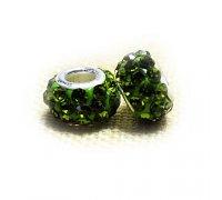 Karoliukas Colour Kristal G su žaliais kristalais; 5/13mm