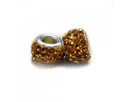 Karoliukas Colour Kristal Y su geltonais kristalais; 5/13mm
