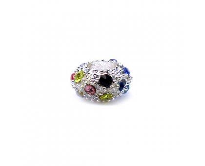 Karoliukas White Kristal MC su įvairiaspalviais kristalais; 5.5/12mm