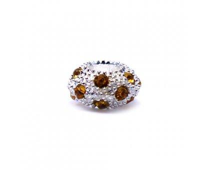 Karoliukas White Kristal Y su geltonais kristalais; 5.5/12mm
