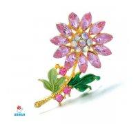 Segė Gėlė rausva; 3x5.3cm