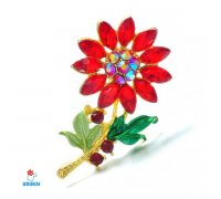 Segė Gėlė raudona; 3x5.3cm