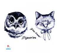 Laikina tatuiruotė Pėlėda ir katinas 258;  10x6cm