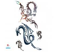 Laikina tatuiruotė Drakonai-X501; 10x6cm