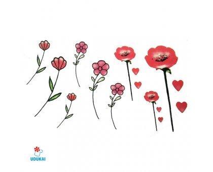 Laikina tatuiruotė Gėlės-W018; 10x6cm