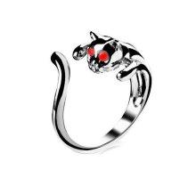 Žiedas Katė raudonom akytėm; universalaus dydžio