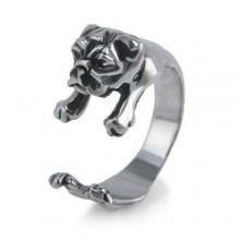 Žiedas Buldogas sidabro spalvos, universalaus dydžio
