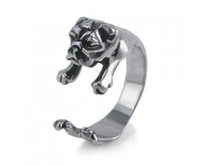 Žiedas Buldogas; sidabro spalvos