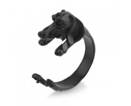 Žiedas Šuniukas juodos spalvos; universalaus dydžio