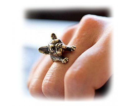 Žiedas Prancūzų buldogas bronzos spalvos; universalaus dydžio