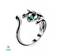 Žiedas Katė žaliom akytėm; universalaus dydžio